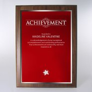 Prestigious Award Plaque - Full-Size - Red w/ Silver